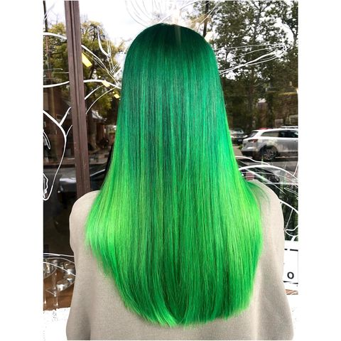 The Bold Lime Green Ombre Hair