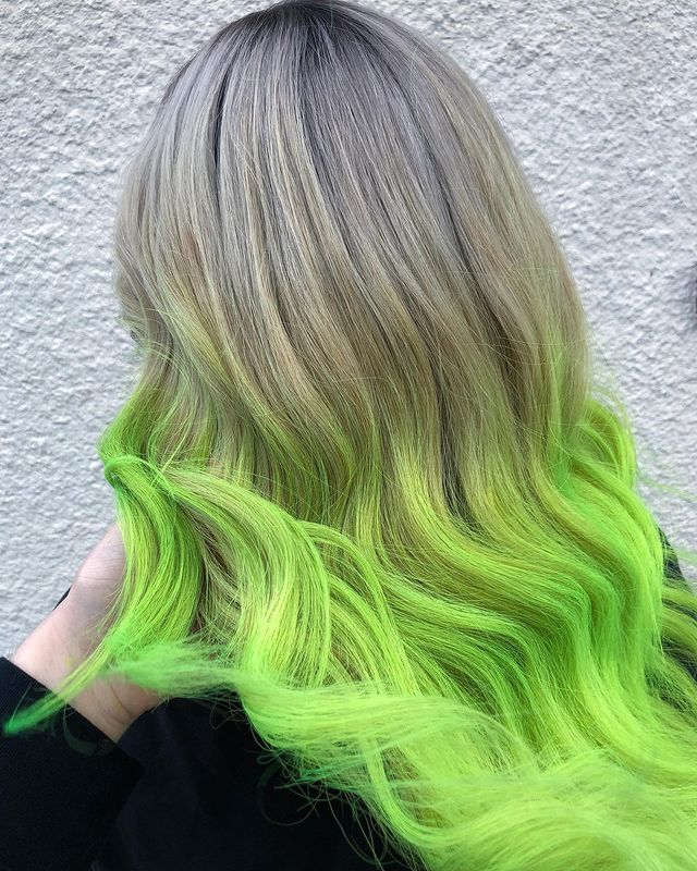 Ashy Blonde to Green Ombre Hair