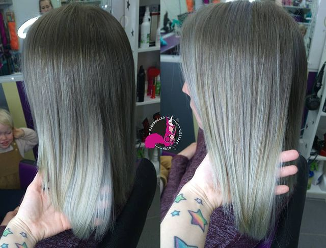 Natural hair color to Ash Gray Ombre