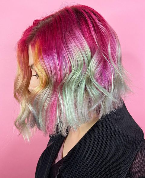 Hot Pink and Green Ombre Hair