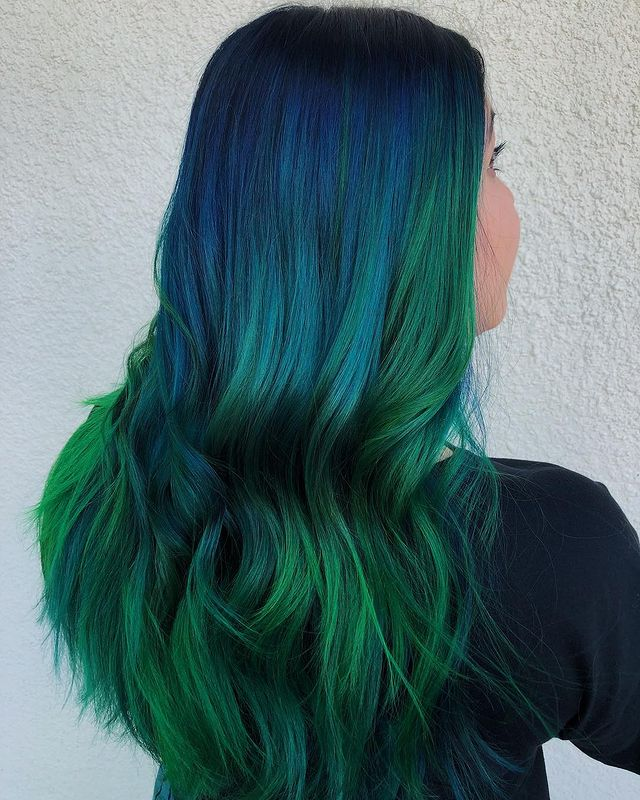 Majestic Blue to Green Ombre Hair