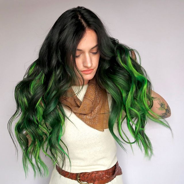1. The Classic Black to Green Ombre Hair