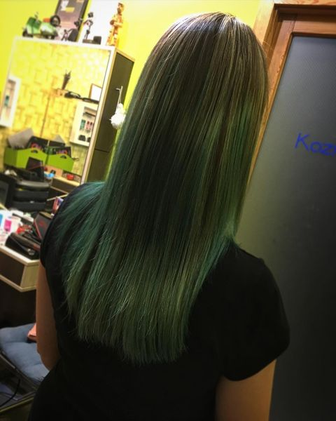 Natural Brown to Green Ombre Hair