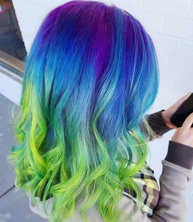 Bright Purple to Green Ombre Hair