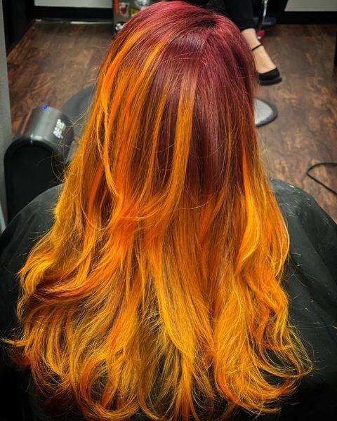 fire sunflower hair