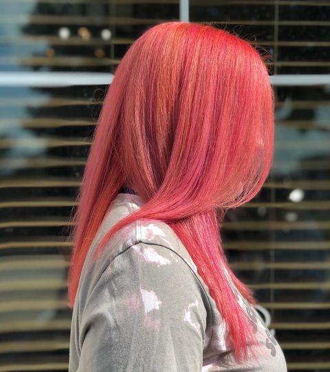Neon peach hair