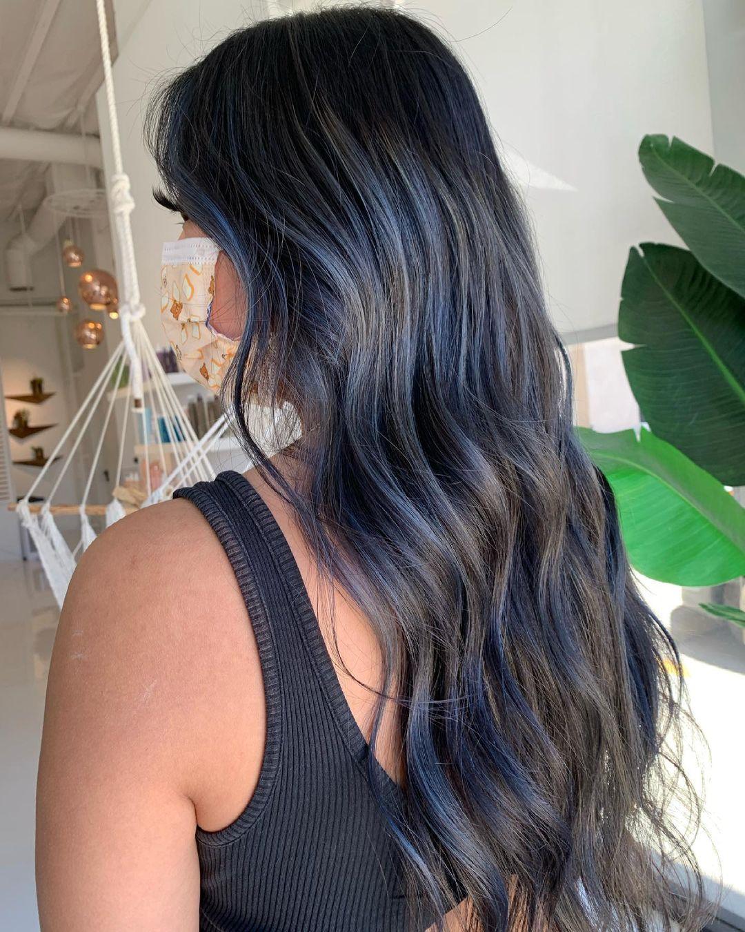 Smokey blue hair color