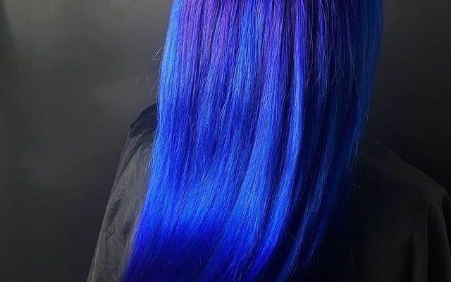 Electric blue hair